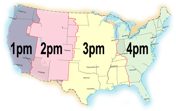 time zone map that the numbers count in a very intuitive way across the us this