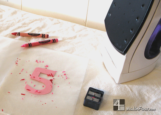 Use waxed paper and crayon shavings to make fabulous stained glass numbers! MathFour.com