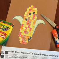 Indian Corn Craft with Fractions, Decimals and Percent Practice!