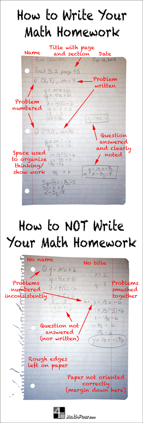 Are you frustrated with the sloppiness or disorganization of math homework? Here are some tips to help your students.