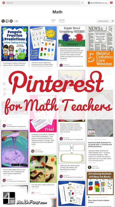 Have you used Pinterest? Have you used it for your math classes? Well, you can!