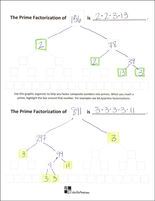 Download this handy prime factorization graphic organizer to help your students!