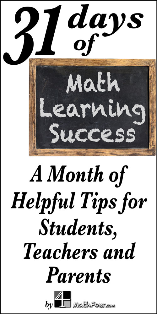 Join us for 31 days of helpful tips and wisdom for continued math learning.