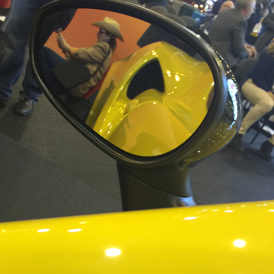 Reflection of me in the Alfa Romeo 4C Spider at the Houston Auto Show