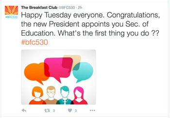 "Today's Breakfast Club 5:30 tweet chat topic is, ""The new President appoints you Sec. of Education. What's the first thing you do?"" Here's my answer..."